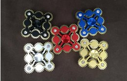 Wholesale Metal Linkage - Nine gear Linkage Hand spinner colors 9 teeth gear HandSpinner Fidget Spinner with 9 wheels Top Finger Gyro Decompression Anxiety Toy