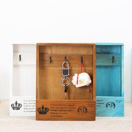 Wholesale Wall Display Holders - Key Wall Decor Wooden Home Decoration Sundries Keys Storage Holders Organizer Jewelry Box Wood Wall Decor Display Rack With 3 Hooks