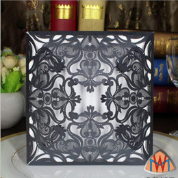 Wholesale House Blank - Laser Cut Customized Invitations Cards Black Wedding Invitations Cards Blank inner page party Business Card Wedding Supplies