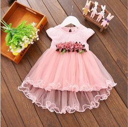 Wholesale American Lantern - Hot 2017 wholesale Girl Dresses Children flower Dress Party Summer Princess Baby Girl Wedding Dress Birthday irregular tailing MSG20