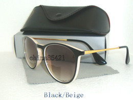 Wholesale Mens Sunglasses High Quality - 1Pcs High Quality Mens Womens Erika Sunglasses Eyewear Black Beige Frame 52MM Lens With Black Case