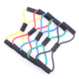 Wholesale Pc Workouts - 120 pcs lot Resistance 8 Type Expander Rope Workout Exercise Yoga Tube Sports free shipping