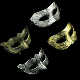 Wholesale Mens Masquerade Party Mask - Men's retro Greco-Roman Gladiator masquerade masks Vintage Golden Silver Mask silver Carnival Mask Mens Halloween Costume Party Mask