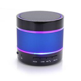 Wholesale mini beat bluetooth - 2017 Newest LED Speaker S09 Enhanced Speaker 3 LED Light Ring Super Bass Metal Mini Portable Beat Hi-Fi Bluetooth Handfree