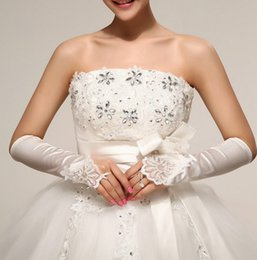 Wholesale Wholesale White Short Satin Gloves - Korean wedding bridal glove Fingerless Satin Lace short hand gloves yarn socks Applique bride Weddings Events Accessories wholesale
