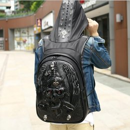 Wholesale Branded Hard Hats - Factory wholesale brand mens bag of high-grade leather 3D stereo snake sword man backpack street boy cool personality hat willow Backpack