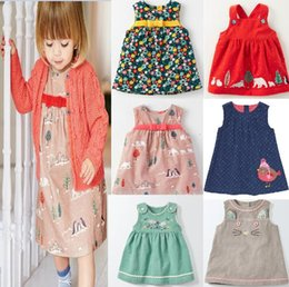 Wholesale Corduroy Girls Christmas Dresses - little maven IN stock 8 style new autumn European and American style hot selling girls 100% cotton Stretch corduroy Suspender cartoon dress