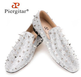 Wholesale Silver Spiked Loafers - Piergitar Handcrafted Luxury Gold or Silver Spikes and Diamonds Men's Glitter Leather Loafers Suitable for Banquet and Wedding,size38-47