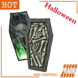 wholesale coffin trinket box halloween coffin with led halloween decorations props haunted house ideas halloween tombstone party yard uk