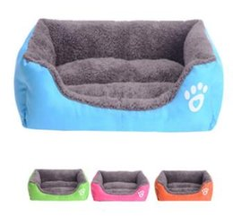 Wholesale canopy dog beds - Fashion Pet Bed Cushion Paw Print Dog Bed Mat Cozy Soft Puppy Dog House Warming Kennel Waterproof Pad Free Shipping