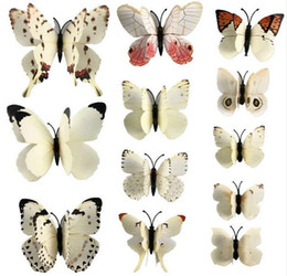 Wholesale Butterfly Party Decor - 12 Pcs set PVC 3D Magnet Butterfly Wall Stickers Butterflies Decors for Wedding Party Home Kitchen Fridge Decoration G662