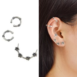 Wholesale Ear Cuff Antique Earrings Silver - 3Pcs Set New Antique Silver Color Boho Chic Style Flower Shape Ear Cuff Stud Cartilage Earrings For Women