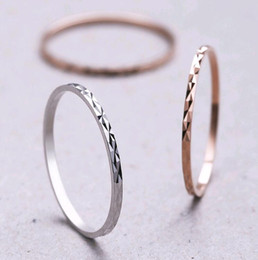 2021 dito indice anello d'oro Simple Korean Thin Knuckle Anello Band Jewelry S925 Sterling Silver Index Pinky Finger Rings Silver Rose Gold Mix size dito indice anello d'oro economici