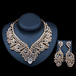 Wholesale Free Easter Decorations - 2018 High quality Gold plated decoration austrian crystal necklace and earring jewelry set for women party or wedding free shipping