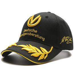 Wholesale Formula Black - Snapack black baseball cap men women hats formula 1 caps Michael Schumacher Cap Racing Mens Hat Wheat Embroidery