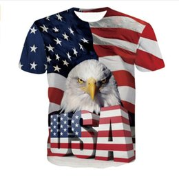 Wholesale Usa Eagles - Newest Fashion Womens mens Cool USA Eagle Summer Style Funny 3D Print Casual Short Sleeve T-shirt LMS000193