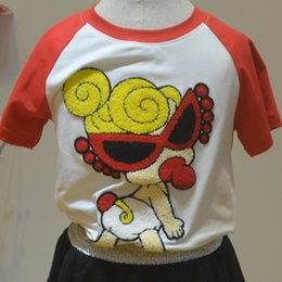 Wholesale Pacifier Fashion - 3D Embroidery Cotton Round Collar Breathable Short Sleeves Black Sunglasses Pacifier Girls Fashion Leisure Comfortable T-shirt