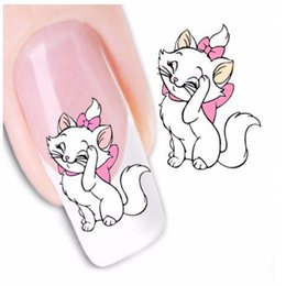 Wholesale Cute Nail Water Stickers - Wholesale- 1Sheets Cute Lovely Cat Designs Nail Decals Nail Art Water Transfer Stickers Foils Wraps Nail Decorations Manicure Tools STZ037