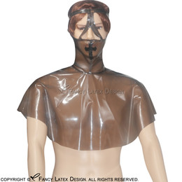 Wholesale Nurses Accessories - Nurse Sexy Latex Hoods With Black Cross In Front Zip At Back Fetish Rubber Mask Bondage Plus Size TT-0008