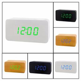 Wholesale wooden digital clock - Fashionable LED Clock Wooden Electronic Voice Control Clock Rectangle Shape Decorative Digital Desktop Clock For Bedroom Study