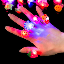Wholesale Cheap Kids Cartoons - Cheap Cute LED Lighted Toys Gifts Cartoon ring light wholesale Flashing ring LED toys small gifts 1356