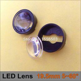 Wholesale Lens For Cree - Wholesale- 200 Pcs lot 19.5mm 5-60 degree adjustable LED Lens set with holder Semi-circle Plano-convex Lenses For Luxeon Seoul Edison Cree