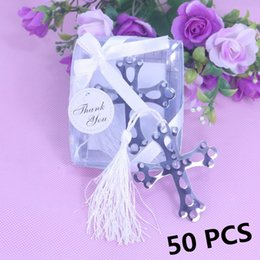 Wholesale Bookmark Shower - Wholesale-50 PCS Sliver Boxed Cross Hollow Bookmark White Tassel For Baby Baptism Holy Communion Shower Graduation Wedding Favours