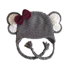 Wholesale Elephant Crochet Hats - Novelty Adorable Elephant Hat with Red Bow,Handmade Knit Crochet Baby Girl Animal Earflap Cap,Infant Toddler Photo Prop,Shower Gifts