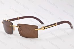 Wholesale Wood Sunglasses Womens - New 2017 Brand Wood Sunglasses For Mens Womens Buffalo Horn Glasses Vintage Designer Rimless Sunglasses With Original boxes Free Shipping