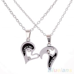 Wholesale Heart Shape Couple Necklace - Wholesale-Men's Women's Lover Couple I Love You Alloy Rhinestone Heart Shape Pendant Choker Chain Necklace 1P1N