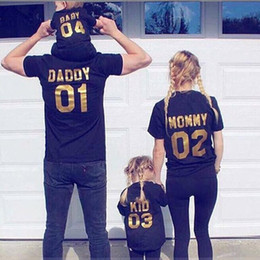 Wholesale Mom Son Outfits - Summer new arrivals family matching outfits mom and me letter print top tees mom and son soft cotton T shirt