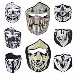 Wholesale face hoods - Wholesale- 1 Pc Bike Cycling Ski Mask Outdoor Ghost Skull Balaclava Neck Hood Half   Full Face Mask