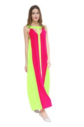 Wholesale Casual For Beach Wear - women summer chiffon boho dresses fashion colors patchwork Sleeveless Plus Size Vestidos maxi long dress clothing for female beach wear
