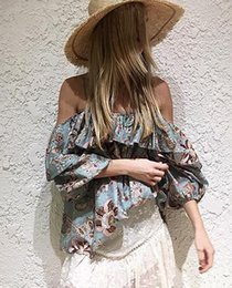 Tops de verão da mulher s On-line-Mulheres Vintage Floral Printed Strap Loose Blusa 2017 Summer Style Elastic Off Shoulder Ruffle Streetwear Tank Top Camisolas de manga comprida Casual