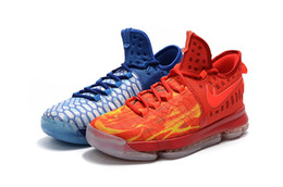 Wholesale Kd Shoes High Cut - NEW 2016 What the KD 9 Fire & Ice EP Men's Basketball Shoes for High quality Kevin Durant 9s Bounce Airs Cushion Sports Sneakers Size 7-12
