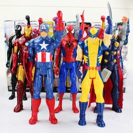 Wholesale Iron Figures - Avengers PVC Action Figures Marvel Heros 30cm Iron Man Spiderman Captain America Ultron Wolverine Figure Toys OOA1340