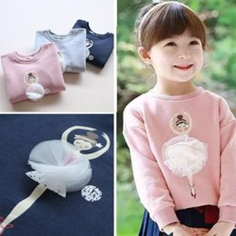 ballet clothes for baby Promotion Vente en gros- 2016 Autumn Winter Children Girl Sweatshirts TOP Tees Vêtements Ballet Baby Outwear Shirts