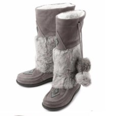 Wholesale Genuine Rabbit Fur Boots - Luxury Muks Mukluks London beading brand genuine leather mid-calf present Real rabbit fur winter snow boots Real leather shoes