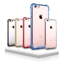 Wholesale Transparent Bag Material - Transparent Air Cushion Shockproof Design PC and TPU Material Mobile Air Bag Anti-knock Cases Crystal Clear case for iphone 5 6 7 plus