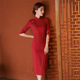 Wholesale Qipao Fabric - Shanghai Story Cotton Fabric long Chinese dress Vertical stripes Qipao Dress Autumn Long cheongsam Chinese Traditional dress