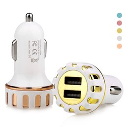 Wholesale Flower Plugs - Hot Selling Sun Flower Shape Mental Dual USB Car Charger Colorful Adaptor USB Car Plug 5V 2 Ports 5 Colors No Package