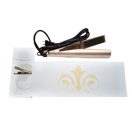 Wholesale Electric Dryer Plugs - Hot US UK AU Plug Gold Plated Titanium Plates Irons Fast Ceramic Hair Curler Flat Iron Styling Tools Hair Straighteners Irons 15pcs