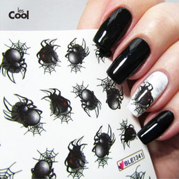 Wholesale Nail Art Water Decals Halloween - Wholesale- 1sheet Halloween Spider Water Transfer Nail Art Sticker Watermark Decals DIY Tips Decoration for Beauty Nail Wraps Tools BLE1341