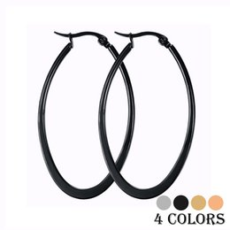 Wholesale Big Trendy Earrings - Newest Style Trendy Big Hoop Earrings Women Female Bijoux 316L Stainless Steel Ear Jewelry Christmas Gift Not Allergic