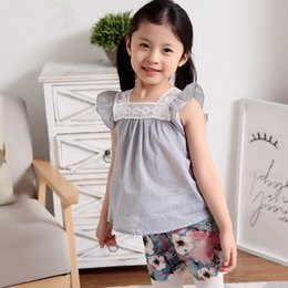 Wholesale Pink Lotus Clothing - Summer children's clothing dress shirt wholesale girls lace stitching sleeveless dress shirt children's lotus leaf sleeves shirt