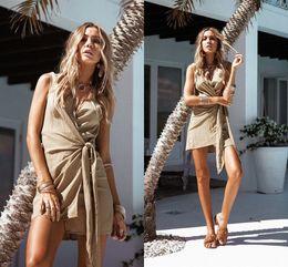 Wholesale Casual Beachwear For Women - Fashion Short Casual Dresses for Women 2017 V-neck Sleeveless Summer Beachwear Women Clothes Mini Dress FS2011