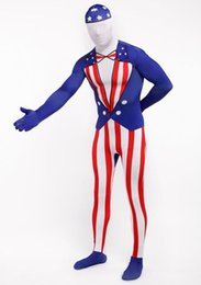 Wholesale Usa Halloween Costumes - Full Body American Morph Suit Flag Lycra Zentai Halloween Party USA Costume