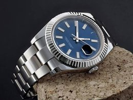 Wholesale Watch Mechanical Stainless Date - Super HZ Factory Mens Automatic Cal.3136 Watches Blue Dial Date Full Steel Men Watch Sapphire 116334 Eta Top Superlative Top Wristwatches