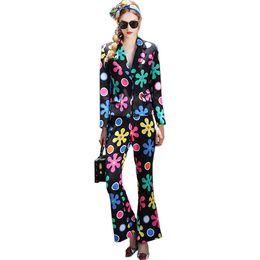 Wholesale Flying Outfits - Unique European American Women Fashion Pants Suits Slim Blazer Flare Trousers Printed 2 Pieces Sets Runway Plus Size XXXL Outfit