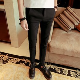 Wholesale Western Dress Suits For Men - Wholesale- 2016 autumn mens black fit business dress suit trousers western style casual skinny suit pants for men